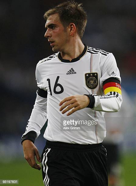 Philipp Lahm of Germany looks on during the international friendly match between Germany and Ivory Coast at the Schalke Arena on November 18, 2009 in...