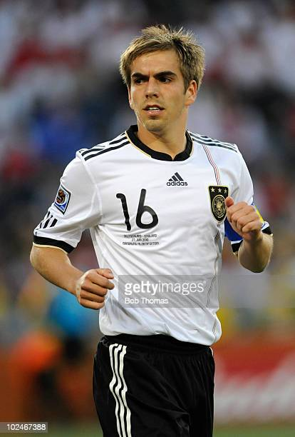 Philipp Lahm of Germany runs during the 2010 FIFA World Cup South Africa Round of Sixteen match between Germany and England at Free State Stadium on...