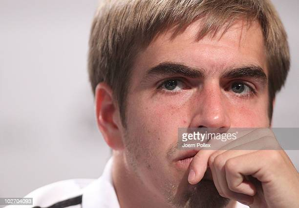 Philipp Lahm of Germany speaks to the media during a press conference in the media center at the Velmore Grand Hotel on July 8 2010 in Pretoria South...