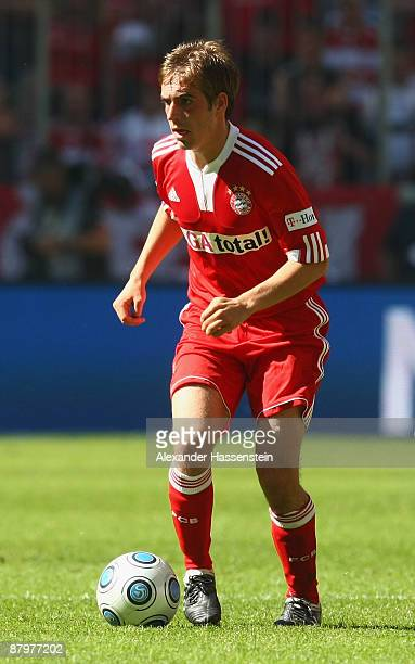 Philipp Lahm of Muenchen runs with the ball during the Bundesliga match between FC Bayern Muenchen and VfB Stuttgart at Allianz Arena on May 23 2009...