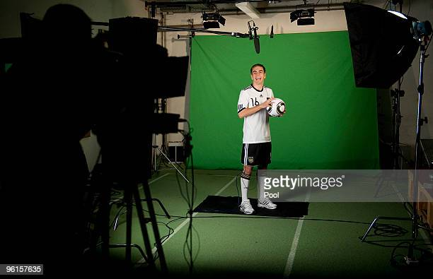 Philipp Lahm of the Geman national football team shooting a commercial during the German Football Association media day on January 25 2010 in...