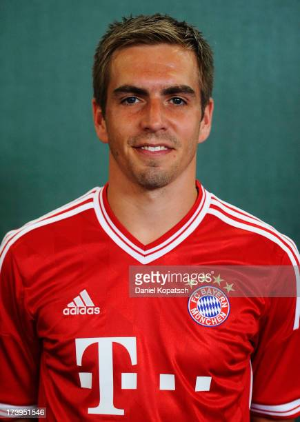 Philipp Lahm poses during the Bayern Muenchen Team Presentation on July 18 2013 in Munich Germany