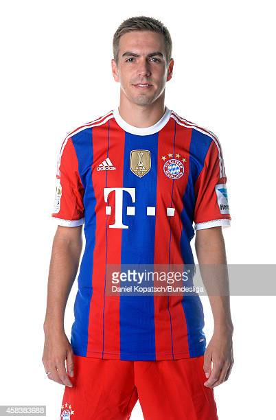 Philipp Lahm poses during the FC Bayern Muenchen Team Presentation for DFL on August 9 2014 in Munich Germany