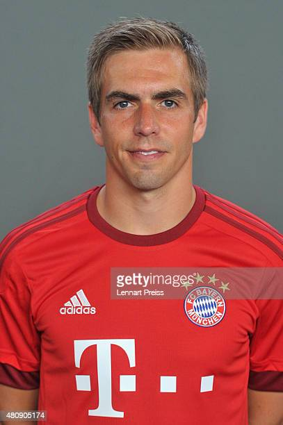 Philipp Lahm poses during the team presentation of FC Bayern Muenchen at Bayern's training ground Saebener Strasse on July 16 2015 in Munich Germany