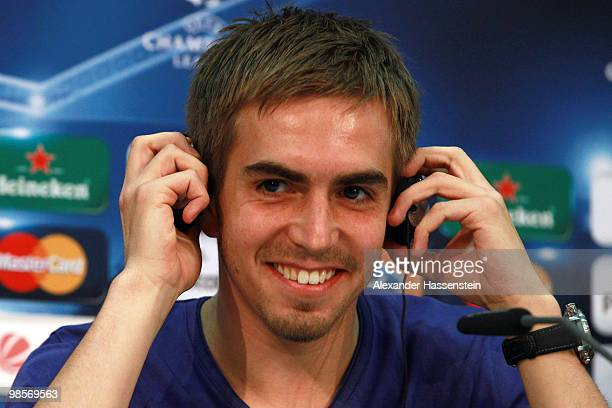 Philipp Lahm smiles during a press conference on April 20 2010 in Munich Germany Bayern Muenchen will play against Olympic Lyon at the UEFA Champions...
