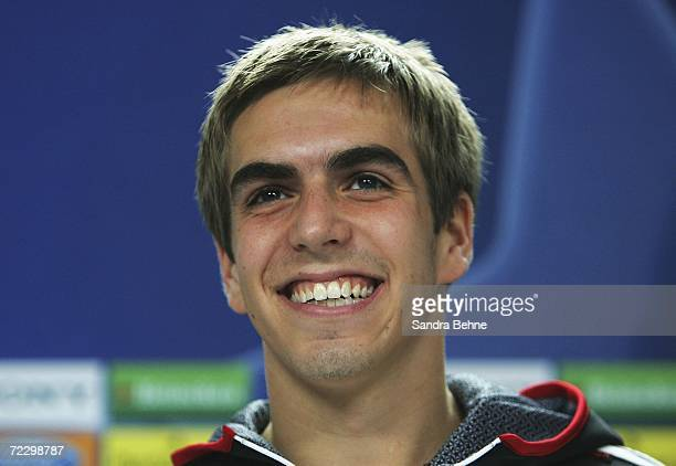 Philipp Lahm smiles during the Bayern Munich press conference at Bayern's training ground Saebener Strasse on October 30 2006 in Munich Germany...