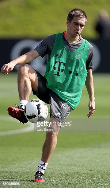 Philipp Lahm stops a ball during a training session at day 2 of the Bayern Muenchen training camp at Aspire Academy on January 4 2017 in Doha Qatar
