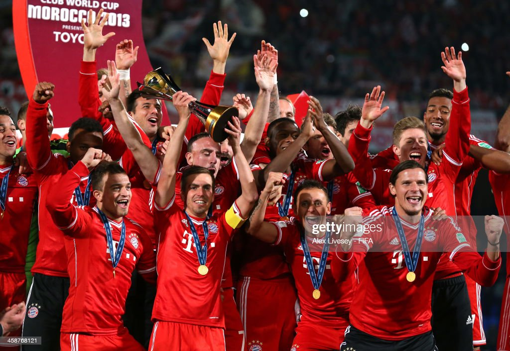 Philipp Lahm the captain of FC Bayern Munchen lifts the FIFA Club World Cup after victory in the FIFA Club World Cup Final between FC Bayern Munchen and Raja Casablanca at Marrakech Stadium on December 21, 2013 in Marrakech, Morocco.