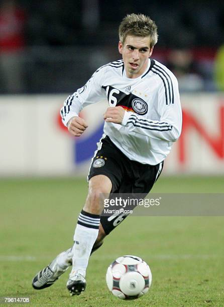 Philipp Lahn of Germany runs with the ball during the friendly match between Austria and Germany at the Ernst Happel stadium on February 6, 2008 in...