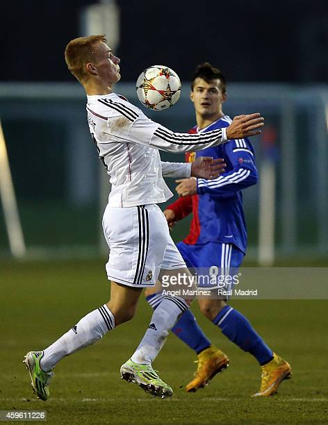 Philipp Lienhart of Real Madrid controls the ball during the UEFA Youth League match between FC Basel 1893 and Real Madrid at Campus FC Basel on...