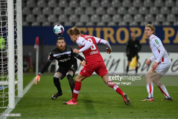Philipp Lienhart of Sport-Club Freiburg scores his teams fourth goal during the Bundesliga match between Sport-Club Freiburg and 1. FC Koeln at...