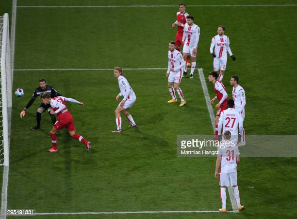 Philipp Lienhart of Sport-Club Freiburg scores his team's fourth goal past Timo Horn of 1. FC Koln during the Bundesliga match between Sport-Club...