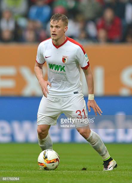 Philipp Max of Augsburg controls the ball during the Bundesiga match between FC Augsburg and Hamburger SV at SGL Arena on May 14 2016 in Augsburg...