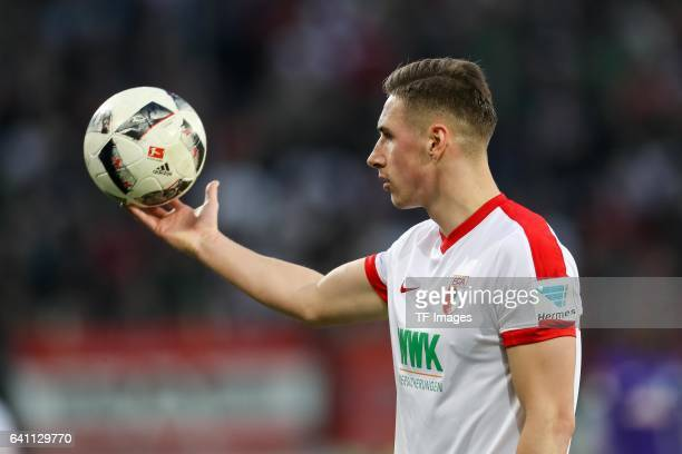 Philipp Max of Augsburg gestures during the Bundesliga match between FC Augsburg and Werder Bremen at WWK Arena on February 5 2017 in Augsburg Germany