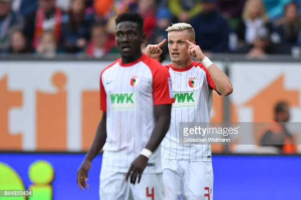 Philipp Max of Augsburg gestures during the Bundesliga match between FC Augsburg and 1 FC Koeln at WWKArena on September 9 2017 in Augsburg Germany