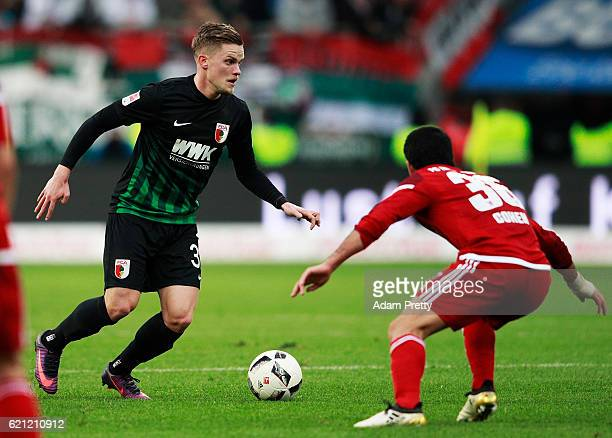 Philipp Max of Augsburg in action during the Bundesliga match between FC Ingolstadt 04 and FC Augsburg at Audi Sportpark on November 5 2016 in...