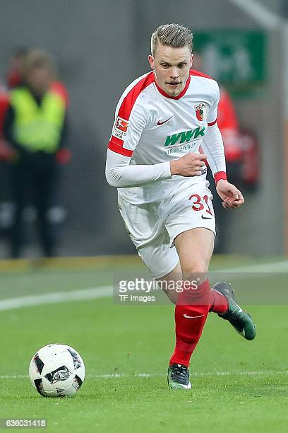 Philipp Max of Augsburg in action during the Bundesliga match between FC Augsburg and Borussia Moenchengladbach at WWKArena on December 17 2016 in...