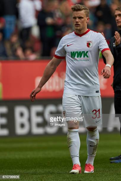 Philipp Max of Augsburg looks on during the Bundesliga match between FC Augsburg and 1 FC Koeln at WWK Arena on April 15 2017 in Augsburg Germany