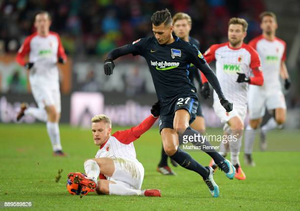 Philipp Max of FC Augsburg and Davie Selke of Hertha BSC during the game between dem FC Augsburg and Hertha BSC on december 10 2017 in Augsburg...