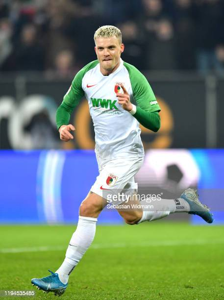 Philipp Max of FC Augsburg celebrates after scoring his team's first goal during the Bundesliga match between FC Augsburg and Fortuna Duesseldorf at...