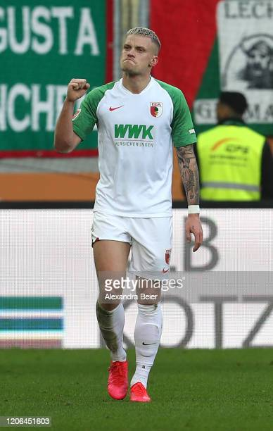 Philipp Max of FC Augsburg celebrates his first goal during the Bundesliga match between FC Augsburg and Sport-Club Freiburg at WWK-Arena on February...