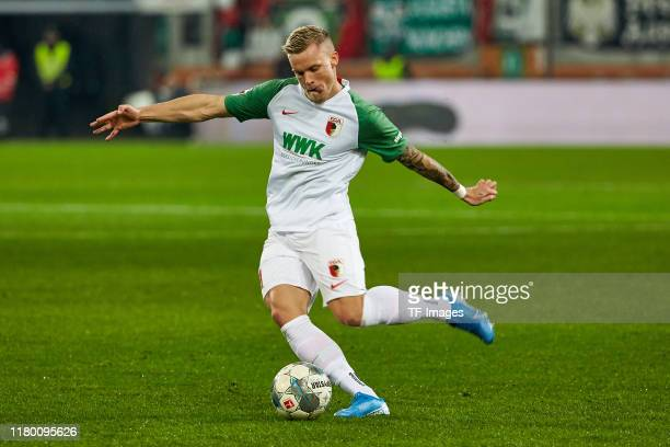 Philipp Max of FC Augsburg controls the ball during the Bundesliga match between FC Augsburg and FC Schalke 04 at WWK-Arena on November 3, 2019 in...