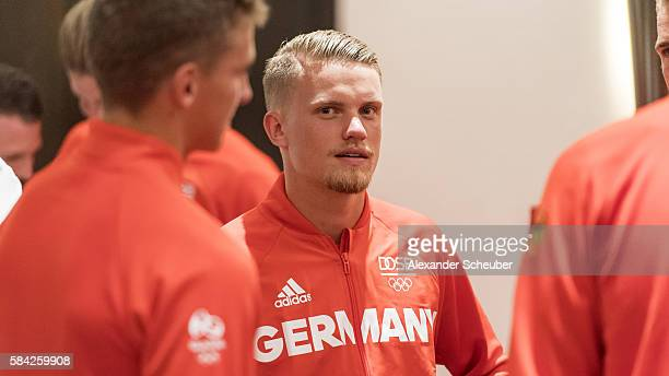 Philipp Max of FC Augsburg during a dinner attended by Germany's Olduring a dinner attended by Germany's Olympic Men's and Women's soccer teams on...