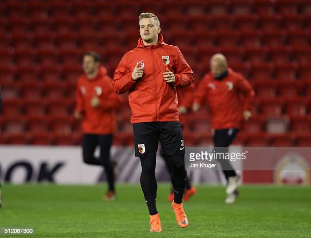 Philipp Max of FC Augsburg in action during the FC Augsburg training session ahead of their UEFA Europa League round of 32 second leg match against...