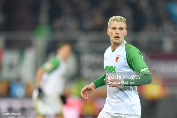 Philipp Max of FC Augsburg looks on during the Bundesliga match between FC Augsburg and Fortuna Duesseldorf at WWK-Arena on December 17, 2019 in...