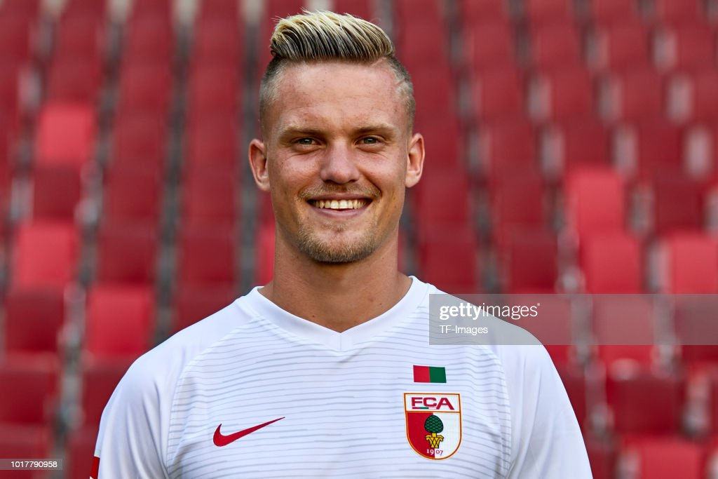 Philipp Max of FC Augsburg poses during the team presentation at WWK Arena on August 9, 2018 in Augsburg, Germany.
