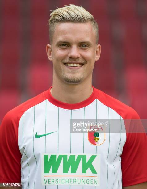Philipp Max of FC Augsburg poses during the team presentation at WWK Arena on July 17 2017 in Augsburg Germany