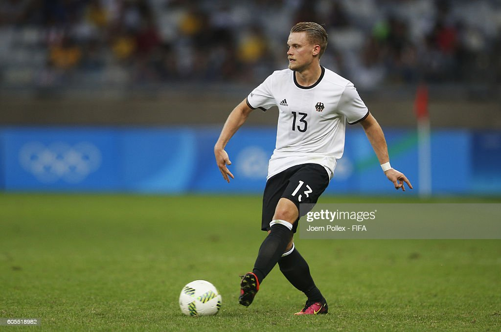Philipp Max of Germany controls the ball during the Men's Group C match between Germany and Fiji on Day 5 of the Rio2016 Olympic Games at Mineirao Stadium on August 10, 2016 in Belo Horizonte, Brazil.