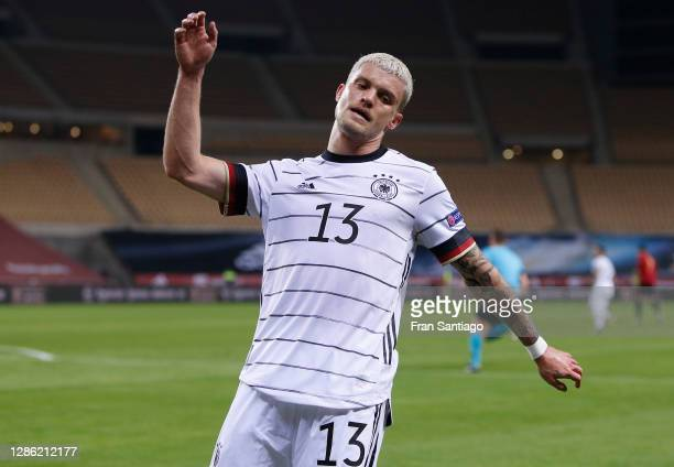 Philipp Max of Germany reacts during the UEFA Nations League group stage match between Spain and Germany at Estadio de La Cartuja on November 17,...