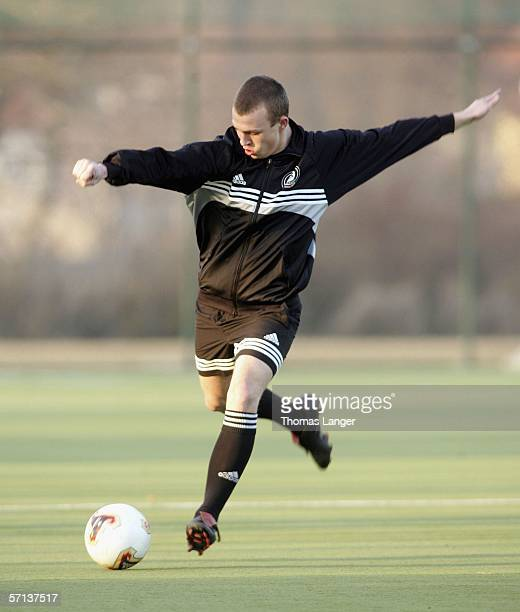 Philipp Mayer of SSV Jahn Regensburg is honoured by the German Football Federation as best football talent of the month on March 20, 2006 in...