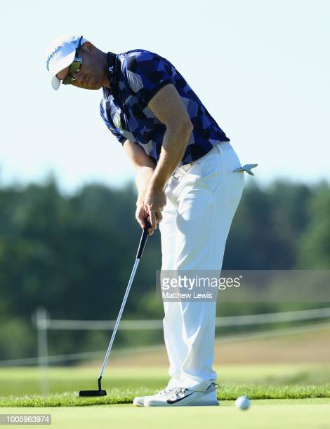 Philipp Mejow of Germany putts during day two of the Porsche European Open at Green Eagle Golf Course on July 27 2018 in Hamburg Germany