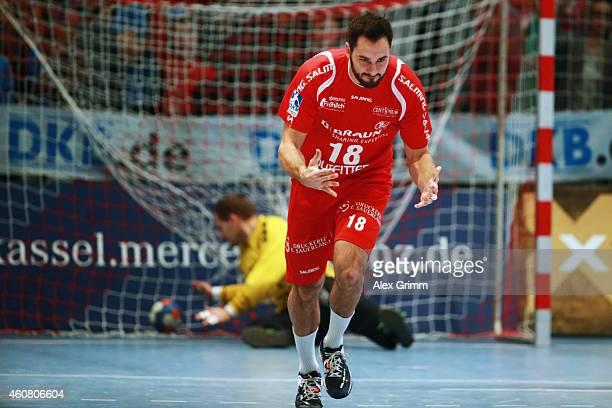 Philipp Mueller of Melsungen celebrates a goal during the DKB Handball Bundesliga match between MT Melsungen and SG FlensburgHandewitt at...