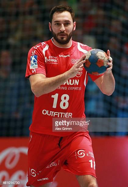 Philipp Mueller of Melsungen controles the ball during the DKB Handball Bundesliga match between MT Melsungen and SG FlensburgHandewitt at...