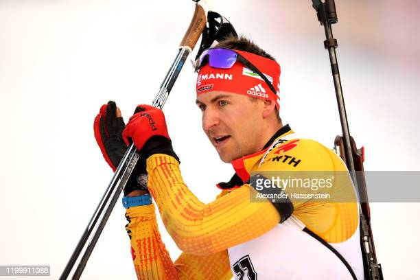 Philipp Nawrath of Germany reacts at the finish area after the Men 10 km Sprint Competition at the BMW IBU World Cup Biathlon Ruhpolding on January...