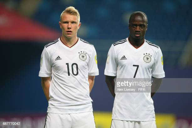 Philipp Ochs and Amara Conde of Germany line up for a free kick during the FIFA U20 World Cup Korea Republic 2017 group B match between Mexico and...