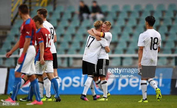 Philipp Ochs and Robin Hack of Germany celebrate after the second goal during the Under 20 Elite League match between U20 of the Czech Republic and...