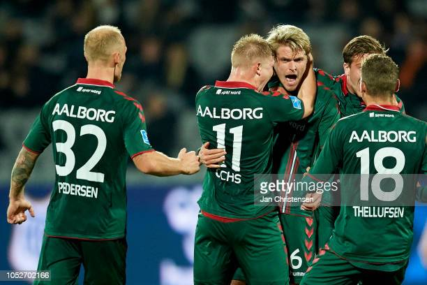 Philipp Ochs of AaB Aalborg and Magnus Christensen of AaB Aalborg celebrate after the 11 goal from Magnus Christensen during the Danish Superliga...