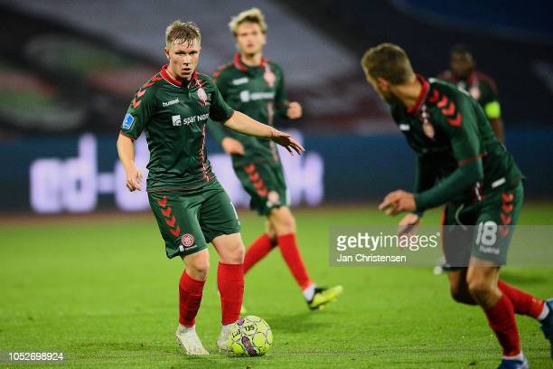 Philipp Ochs of AaB Aalborg controls the ball during the Danish Superliga match between AGF Arhus and AaB Aalborg at Ceres Park on October 21 2018 in...