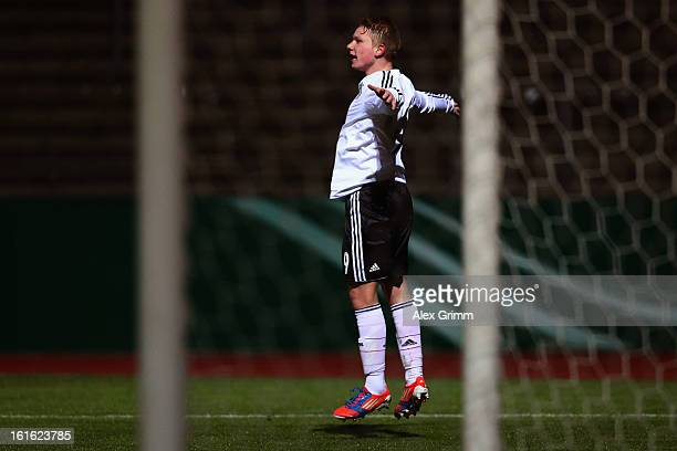 Philipp Ochs of Germany celebrates his team's first goal during the U16 international friendly match between Germany and England at Suedstadion on...