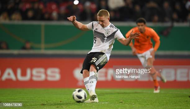 Philipp Ochs of Germany scores his teams first goal from the penalty spot during the International Friendly match between Germany U21 and Holland U21...