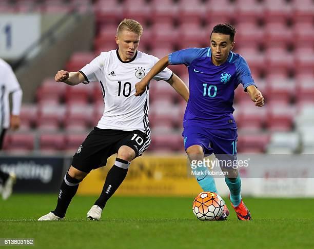 Philipp Ochs of Germany U20 and Abdelhak Nouri of the Netherlands U20 during the U20 International Friendly match between Germany and Netherlands on...