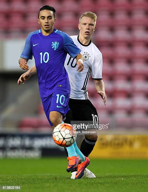 Philipp Ochs of Germany U20 and Abdelhak Nouri of the Netherlands U20 during the U20 International Friendly match between Germany and Netherlands on...