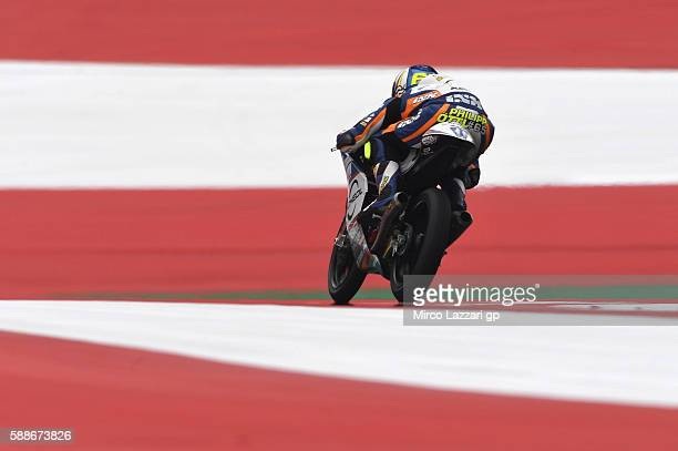 Philipp Oettl of Germany and Schedl GP Racing heads down a straight during the MotoGp of Austria Free Practice at Red Bull Ring on August 12 2016 in...