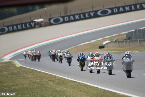 Philipp Oettl of Germany and Sudmetal Schedl GP Racing leads the field during the MotoGp of Italy Qualifying at Mugello Circuit on June 3 2017 in...