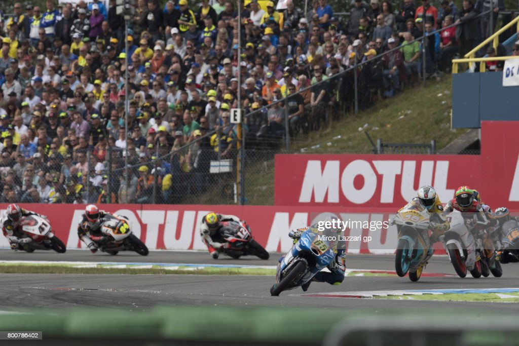 Philipp Oettl of Germany and Sudmetal Schedl GP Racing leads the field during the Moto3 Race during the MotoGP Netherlands - Race on June 25, 2017 in Assen, Netherlands.