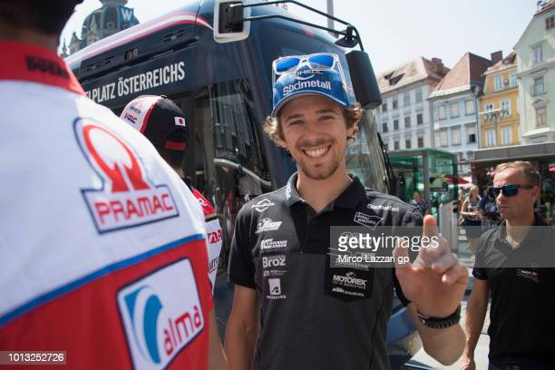 Philipp Oettl of Germany and Sudmetall Schedl GP Racing greets the fans during the preevent in Herrengasse in Graz during the MotoGp of Austria...
